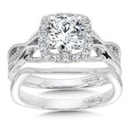 Caro74 Modernistic Collection Halo Engagement Ring in 14K White Gold with Platinum Head (1ct. tw.)
