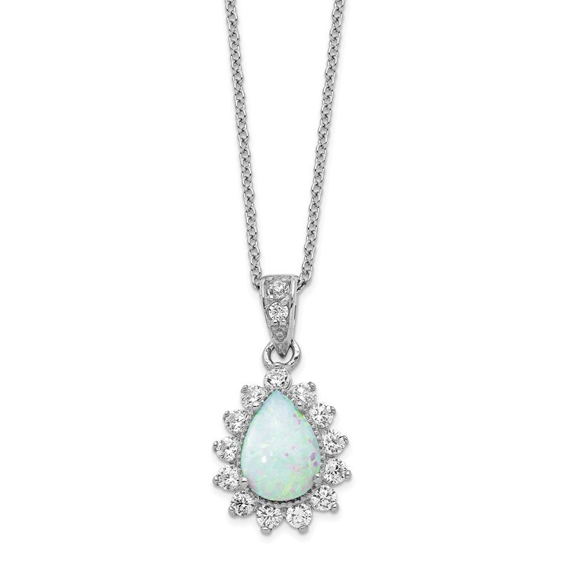 Cheryl M Cheryl M Sterling Silver CZ Lab created Opal Pear Shaped Necklace