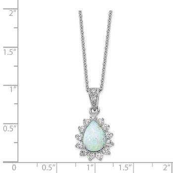 Cheryl M Sterling Silver CZ Lab created Opal Pear Shaped Necklace