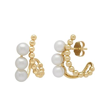 Honora 14KY 4.5-55mm White Round Freshwater Cultured Pearls Pebbled Curve Earrings