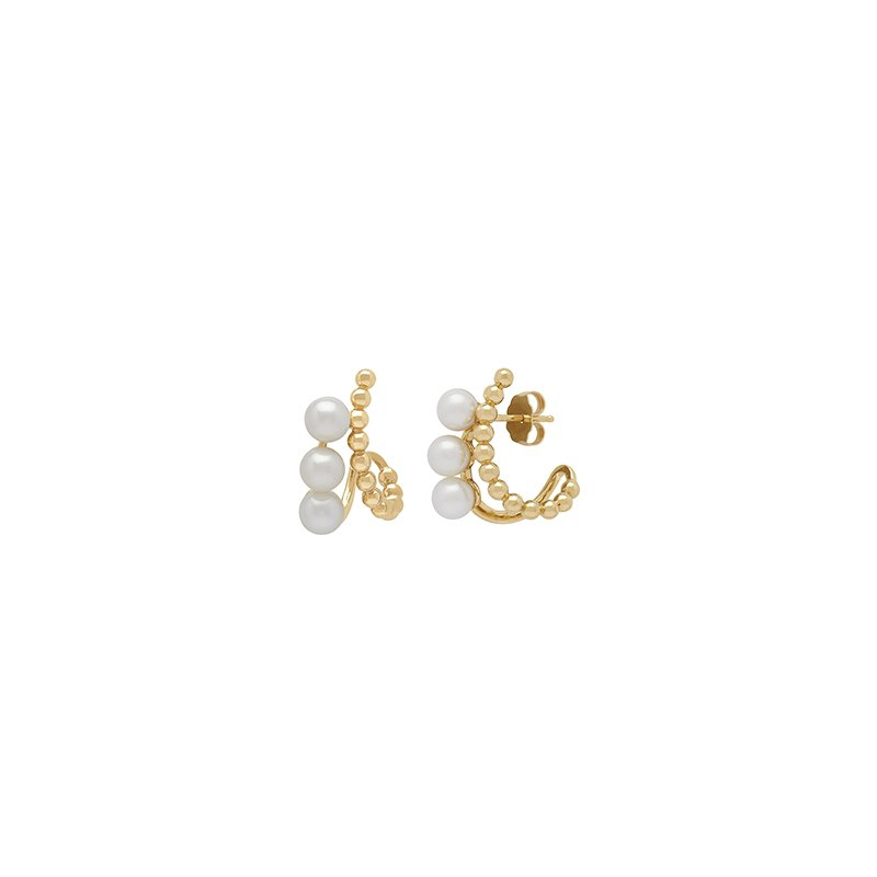 Honora Honora 14KY 4.5-55mm White Round Freshwater Cultured Pearls Pebbled Curve Earrings