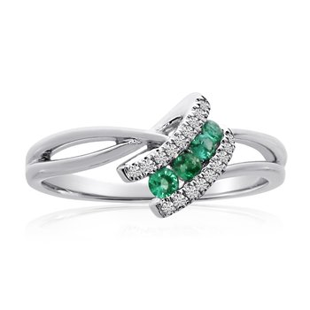 14k White Gold Emerald and Diamond Angle Ring