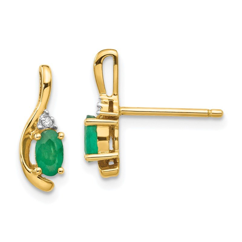 Quality Gold 14k Emerald and Diamond Post Earrings