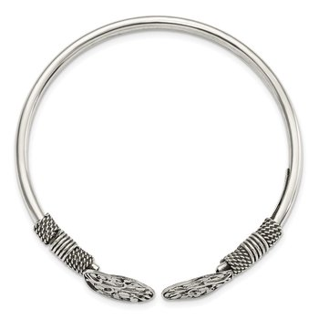 Sterling Silver Polished Tree Antiqued Flexible Bangle