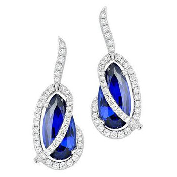 Blue Sapphire Earrings-CE4133WBS
