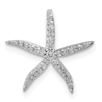 14k White Gold 1/8ct. Diamond Starfish Chain Slide