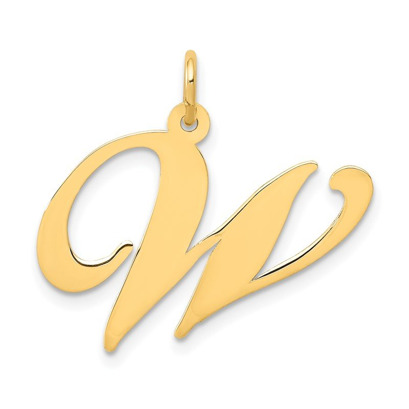 Quality Gold 14k Large Fancy Script Letter W Initial Charm