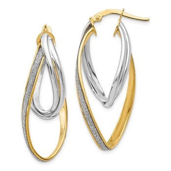 Leslie's 14k Two-tone Glimmer Infused Twisted Hoop Earring