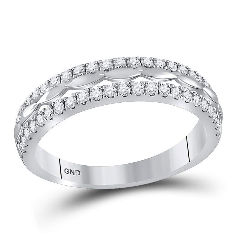 Kingdom Treasures 14kt White Gold Womens Round Diamond Double Row Band Ring 1/2 Cttw