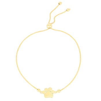 14K Gold Paw Print Friendship Bracelet