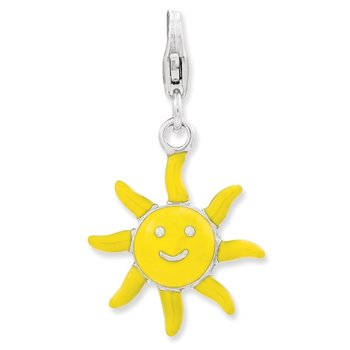 Sterling Silver Enameled 3-D Sunshine w/Lobster Clasp Charm