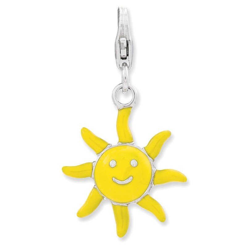Quality Gold Sterling Silver Enameled 3-D Sunshine w/Lobster Clasp Charm