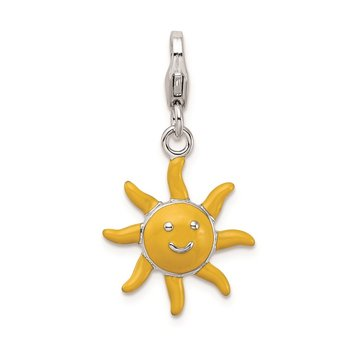 SS RH Enameled 3-D Sunshine w/Lobster Clasp Charm