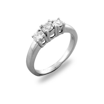 14K WG Diamond Three Stone Ring