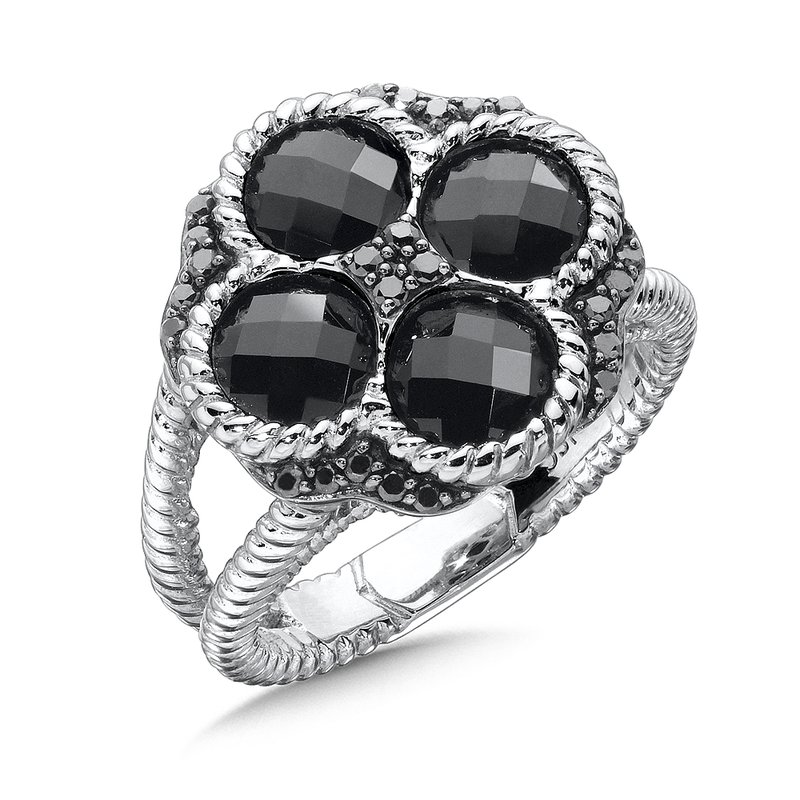 Colore SG Sterling Silver Black Diamond & Onyx Split Shank Ring