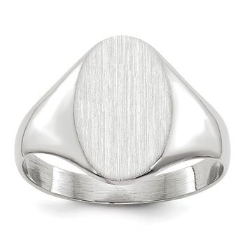 14k White Gold 11.5x8.0mm Open Back Signet Ring