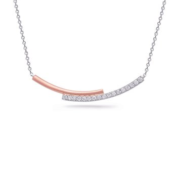 White & Rose Gold Diamond Necklace