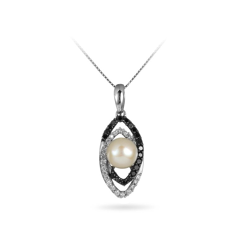 BB Impex 14K WG Black and White Diamondand Pearl Pendant
