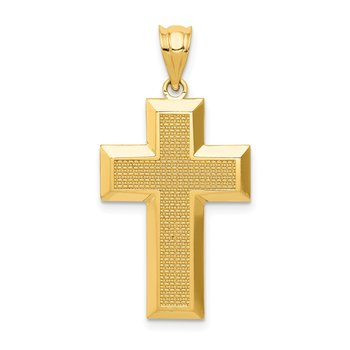 14K Polished / Textured Cross Pendant