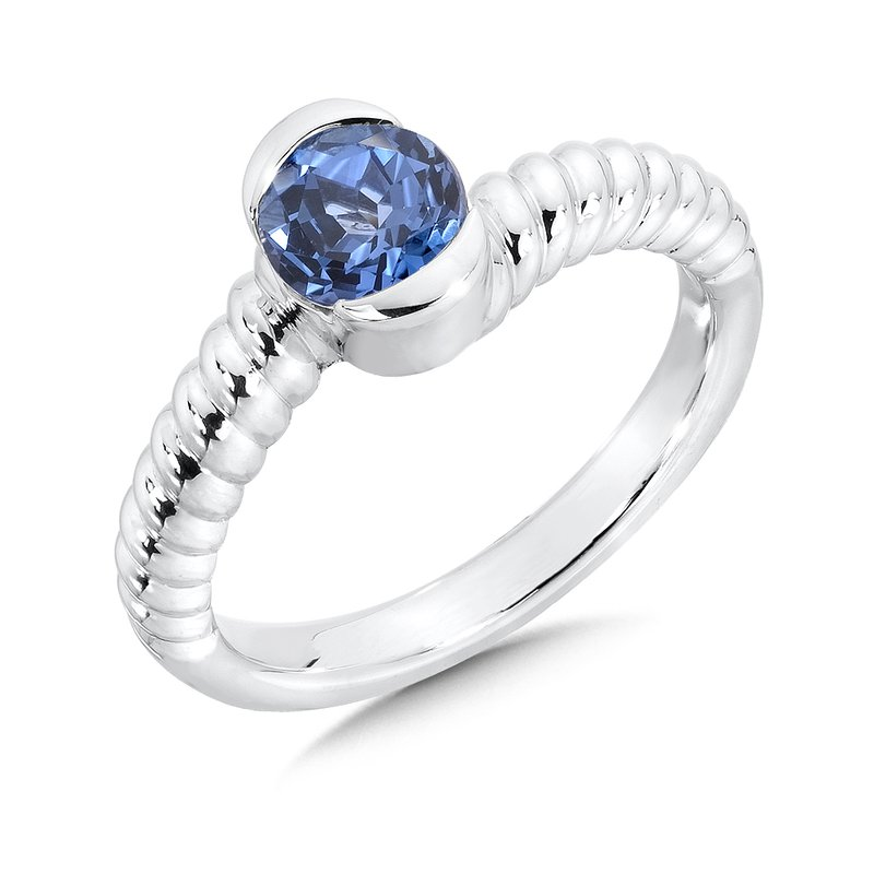 Colore SG Sterling Silver Created Blue Sapphire Colore Of Life Stack Ring