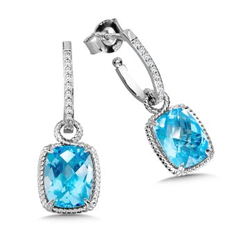 Blue Topaz & Diamond Earrings in 14K White Gold