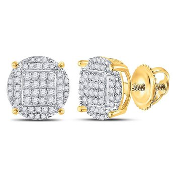 Yellow-tone Sterling Silver Mens Round Diamond Circle Cluster Earrings 1/2 Cttw