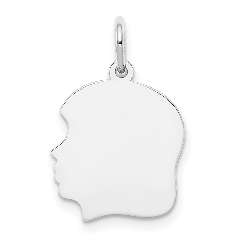Lester Martin Online Collection 14k White Plain Medium.013 Depth Facing Left Engravable Girl Charm