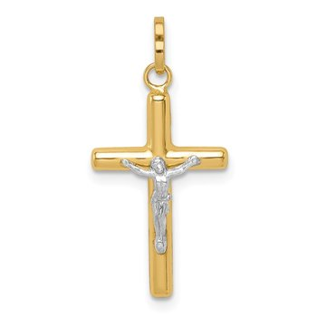 14k with White Rhodium Polished Hollow Crucifix Charm