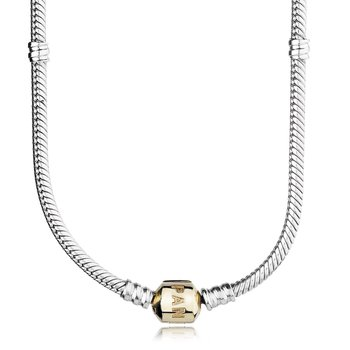 Silver Charm Necklace With 14K Gold Clasp