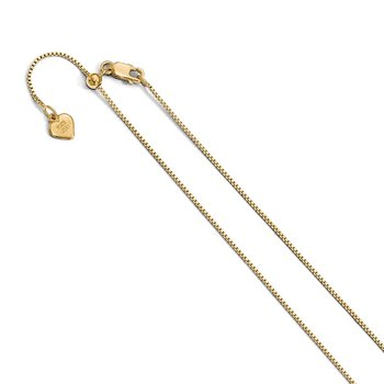 Leslie's Sterling Silver .85 mm Gold-plated Adjustable Box Chain