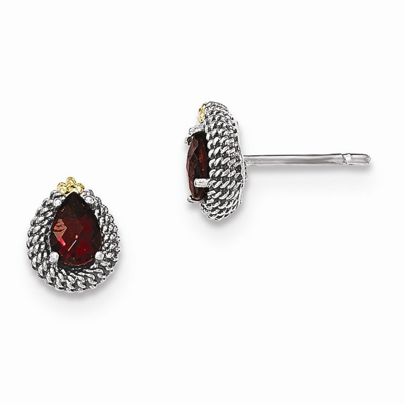 Shey Couture Sterling Silver w/14ky Garnet Pear Shaped Post Earrings