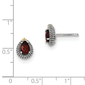 Sterling Silver w/14ky Garnet Pear Shaped Post Earrings