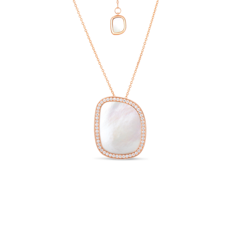 Roberto Coin Small Pendant With Mother Of Pearl And Diamonds