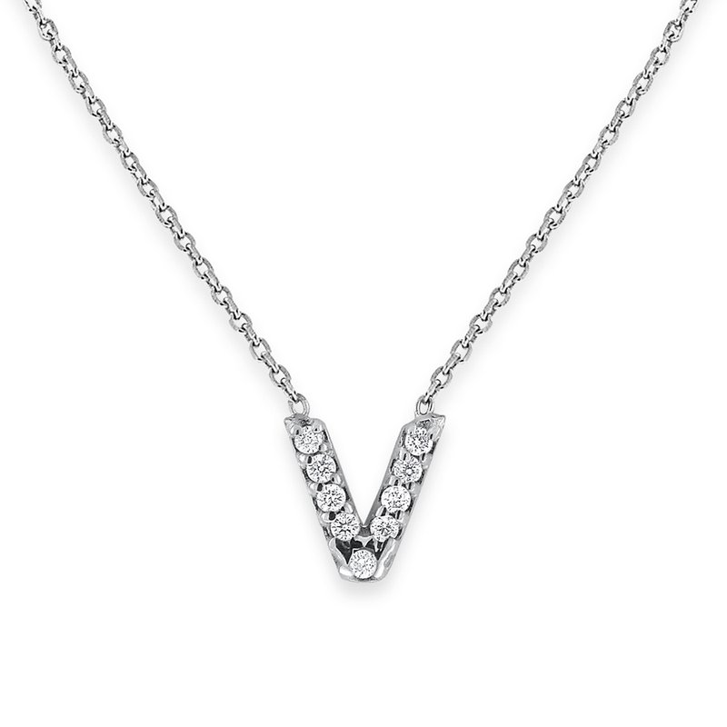 KC Designs Diamond Bitty Block Initial V Necklace