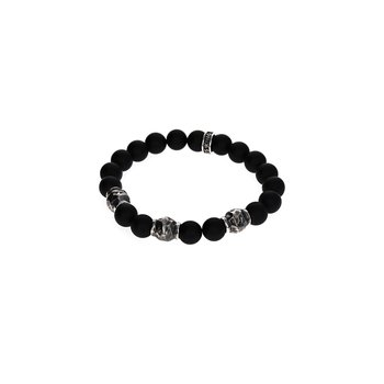 10Mm Matte Onix Bracelet W/Hammered Beads