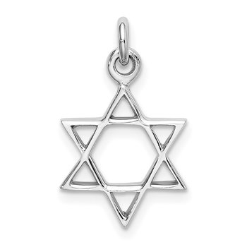 Sterling Silver Rhodium-plated Polished Star of David Pendant