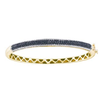 14kt Yellow Gold Womens Round Black Color Enhanced Diamond Bangle Bracelet 1-1/2 Cttw