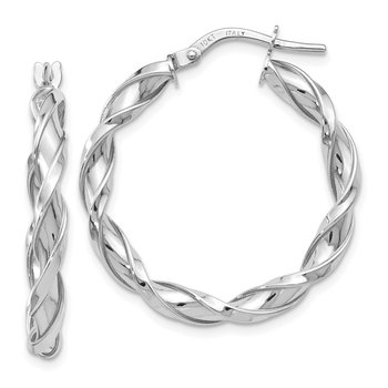 Leslie's 10K White Gold Polished Twisted Hoop Earrings
