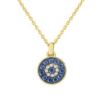 14k Gold, Diamond and Blue Sapphire Evil Eye Necklace