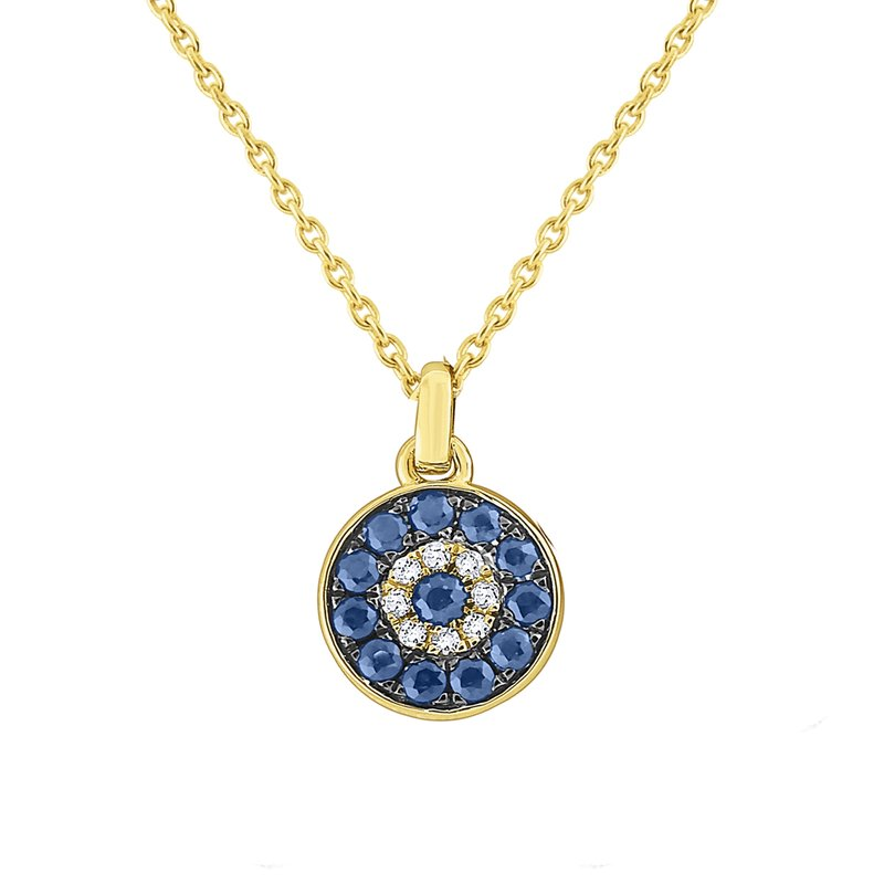 KC Designs 14k Gold, Diamond and Blue Sapphire Evil Eye Necklace