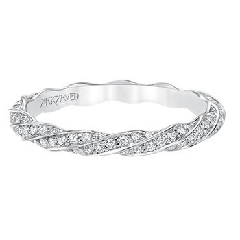 14K White Gold Twist Eternity Wedding Band