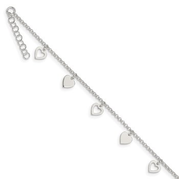 Sterling Silver 9 inch Polished Heart with 1in ext. Anklet