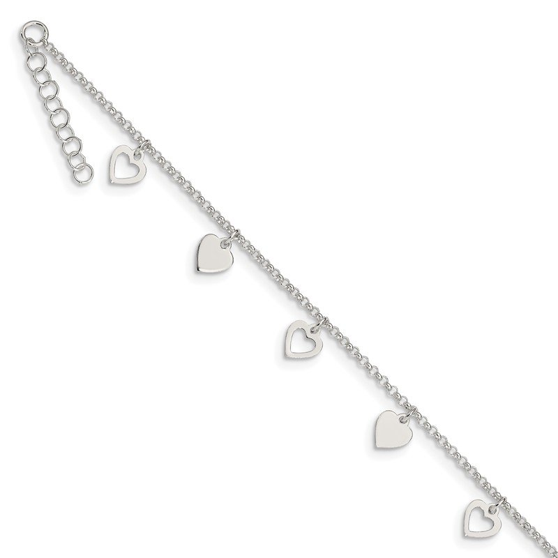 Quality Gold Sterling Silver 9 inch Polished Heart w/ 1in ext. Anklet