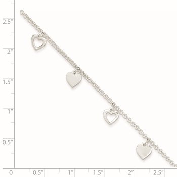 Sterling Silver 9 inch Polished Heart w/ 1in ext. Anklet