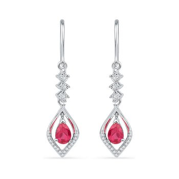 10kt White Gold Womens Pear Lab-Created Ruby Diamond Dangle Earrings 1/8 Cttw