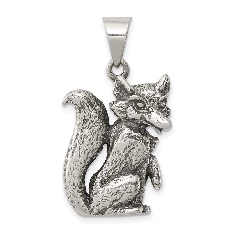 Quality Gold Sterling Silver Antiqued Fox Charm