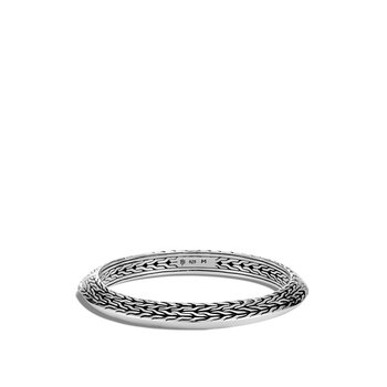 Classic Chain Knife Edge 8MM Hinged Bangle in Silver