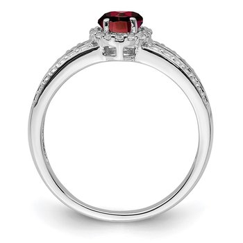 Sterling Silver Rhodium-plated Garnet and White Topaz Ring