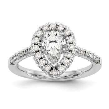 14kw True Origin Lab Grown Diamond VS/SI, D E F, S/M Pear Halo Eng. Ring