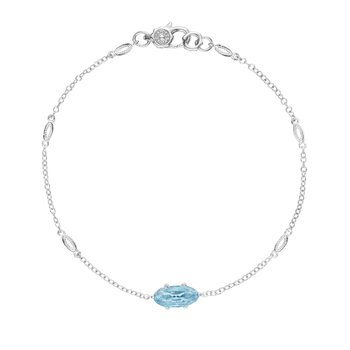 Solitaire Oval Gem Bracelet with Sky Blue Topaz